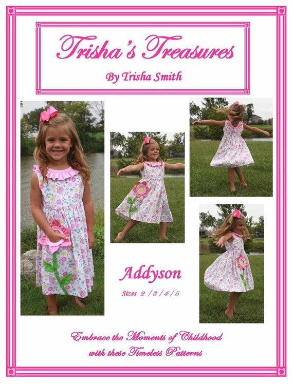 Girls Dress  Pattern / Twirly Skirt / Pocket Full of Posies / Flower Pocket / Sleeveless / Ruffle Neck / Addyson  from Trisha's Treasures.