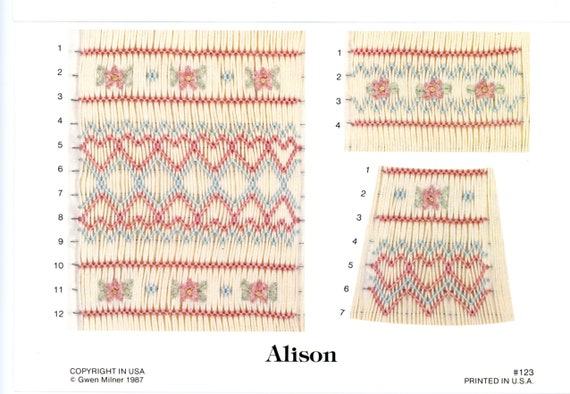 Smocking Plates / Geometric Smocking / Alison / Multiple Designs  / Bishop / Square Yoke / Inset /Vintage Plate / Gwen Milner