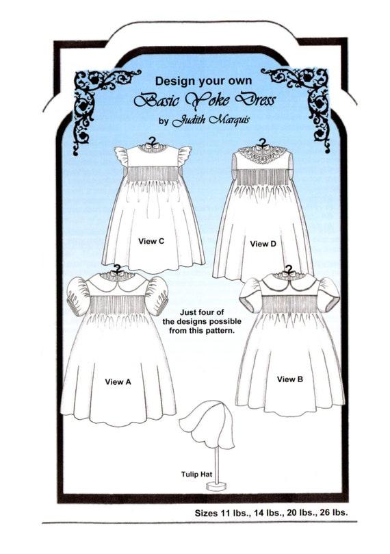 Smocked Dress Pattern / Baby Dress / Basic Yoke Dress / Smocking / Sleeve Variations / Multiple Looks / Tulip Hat / Judith Marquis /