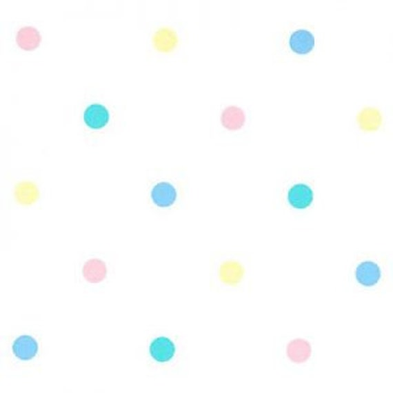 "Pastel Polka Dot Pique Fabric: Pink, Blue, Green & Yellow /100% Cotton / 60 Inches Wide / Pleats for Smocking / 60"" wide / by Fabric Finders"