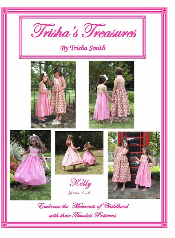 Sundress Pattern / Twirly Skirt / Ties At The Neck or Criss-crossed Straps / Easy / Large Sizes / Kelly Pattern / from Trisha's Treasures.