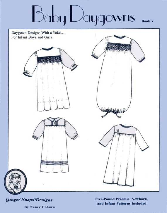Baby Daygowns / Book V / Patterns for Daygowns / Smocked Daygowns / Instructions & Illustrations / Smocking and Shadowwork Designs  included