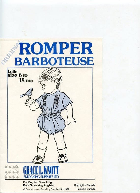 Romper Pattern / Classic Baby Pattern / Smocking / Heirloom / Baby Romper / Snaps at the crotch / Belt / Vintage Style / by Grace Knott