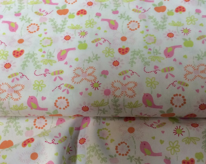 Featured listing image: Fabric / Birds and Flowers / Smocking Fabric / Dress Fabric / Quilt Fabric / 100% Cotton / Fabric Finders / 1030