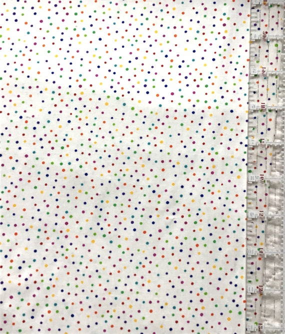Mask Fabric / 100% Cotton / Primary Color Dots / Quilt Fabric / Doll Clothes /  Tiny Multicolored Dots