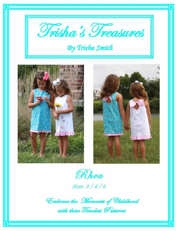 Girls Dress  Pattern / A-Line / Sleeveless / Button Back / Key Hole Tie / Rhea from Trisha's Treasures.