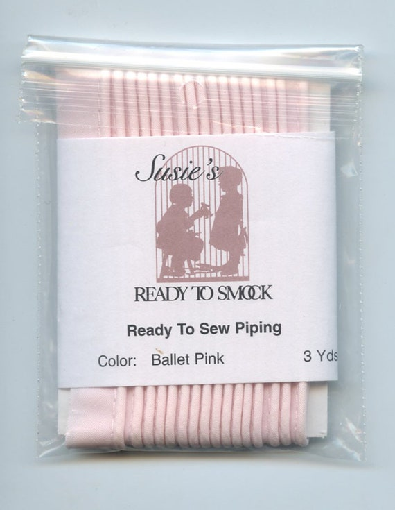 "Ballet Pink Mini Piping / 3 Yard Package / Piping for Childrens Clothes / Mini-Piping /  Doll Clothes / Cording 1/8"" / Overall width .5"""