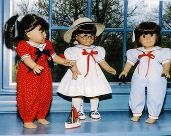 "Doll Pattern / 18"" Doll Pattern / Sailor Dress / Sailor Jumpsuit /  by Carol Clements"
