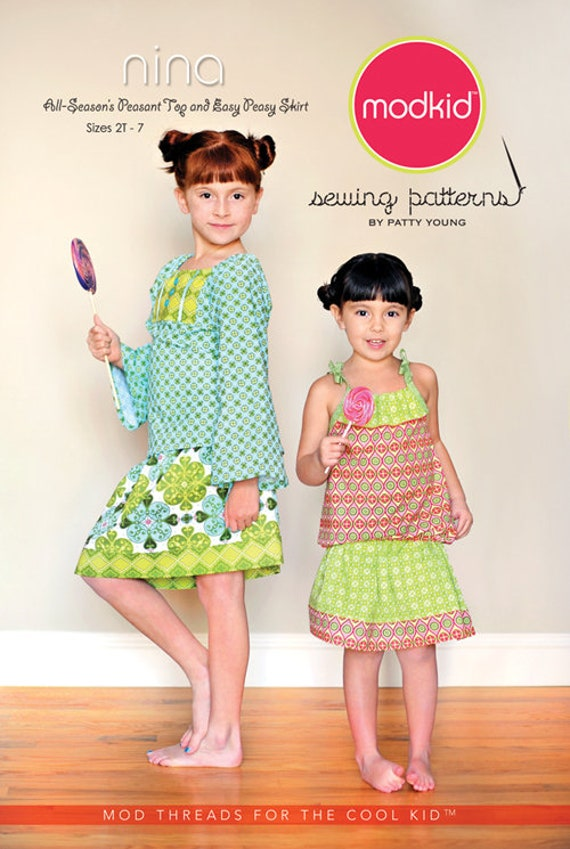 Nina /Girls peasant Top / Girls Skirt / Sleeveless Tank / Short Sleeves / Long Sleeves / Easy Peasy Skirt / Modkids