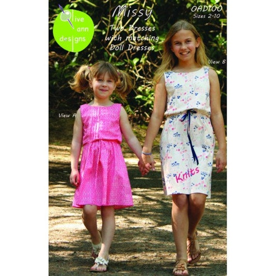 Missy /  2 Dress Patterns / 1 For Knit And 1 For woven / Draw String Waist / Zipper or Pull On / Easy / Doll Dress/ Olive Ann Designs OAD100