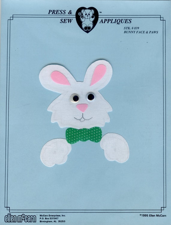 Iron on Appliqué / Press & Sew Appliqué / Bunny Face Applique / Easy Easter Outfit /  Embroidery machine not required / Ellen McCarn