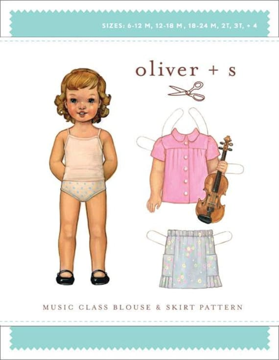Blouse and Skirt Pattern / Oliver +s Pattern / Button Front / Long or Short Sleeve / Skirt with Elastic Waist and Pockets