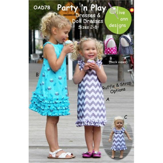 A-Line Dress Pattern / Ruffled Hem / Sundress / Matching Doll Dress /Party n Play Pattern /  Olive Ann Designs OAD78