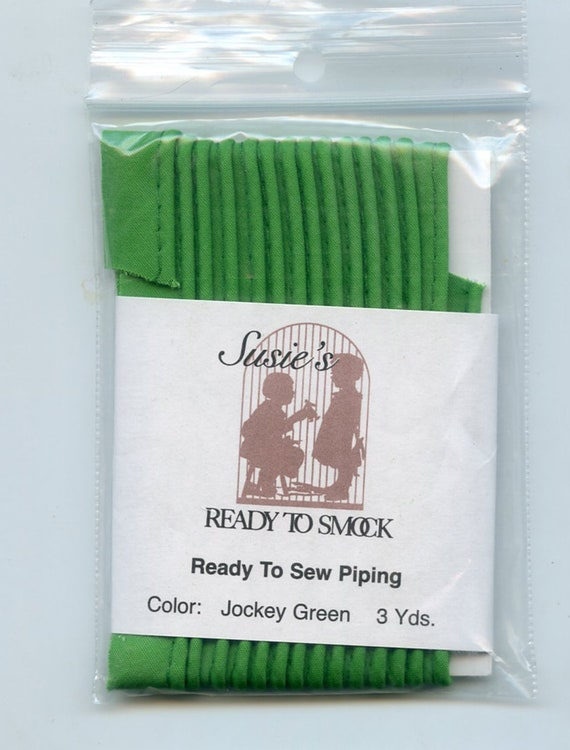 "Jockey Green Mini Piping / 3 Yard Package / Piping for Childrens Clothes / Mini-Piping /  Doll Clothes / Cording 1/8"" / Overall width .5"""