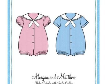 Baby Bubbles / Sailor Bubble /Sailor Collars / Sailor Suit / Brother -Sister Outfits  / Boys Bubble / Embroidery Design / Bonnie Blue #113