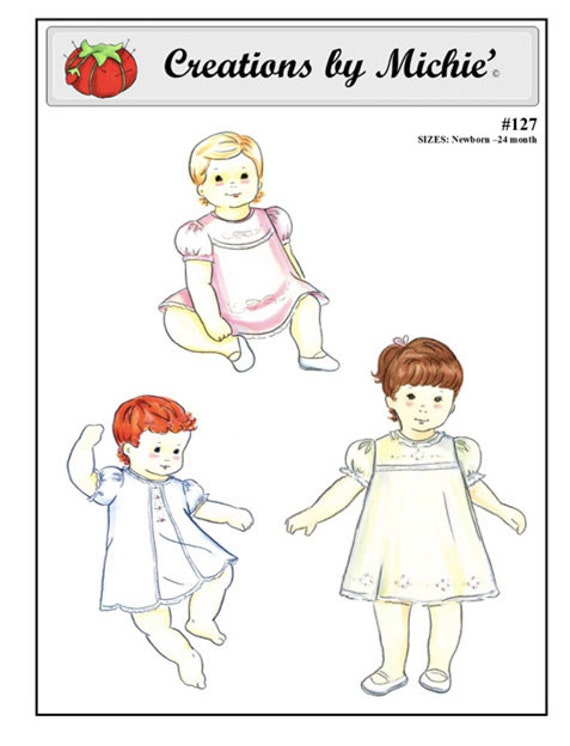 Baby Dresses Pattern / 3 Designs/ Heirloom Sewing / Lace Insertion / Embroidery / by Michie  #127