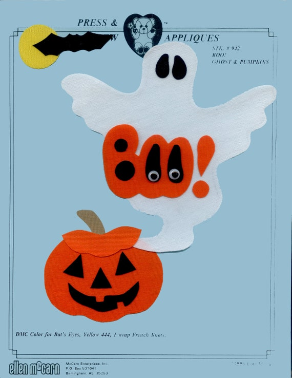 Iron on Appliqué / Press & Sew Appliqué / Ghost and pumpkin Appliqué  / Halloween / Easy Fall Outfit /  Boo Ghost by Ellen McCarn