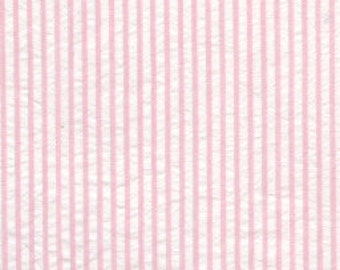 "Seersucker Pink &White Stripe Fabric by Fabric Finders 60"" wide"