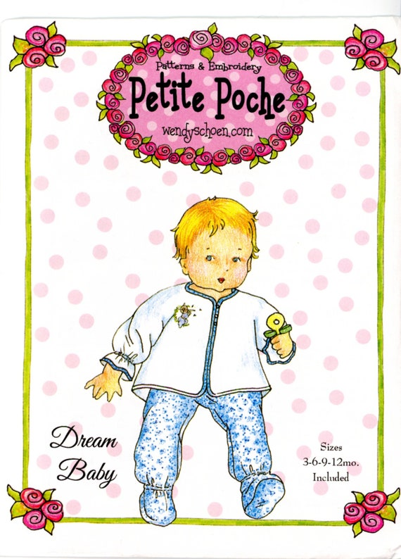 Baby Pattern / Topper and Matching Pull-On Bootie Pants / Boys & Girls Patterns /Dream Baby / Embroidery/ Petite Poche / Wendy Schoen