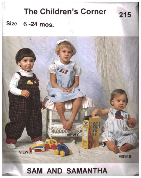 Vintage Pattern / Overalls / Long Romper / Easy / Boys / Girls / Snap Crotch / Childrens Corner Pattern- 215 / Sam + Samantha