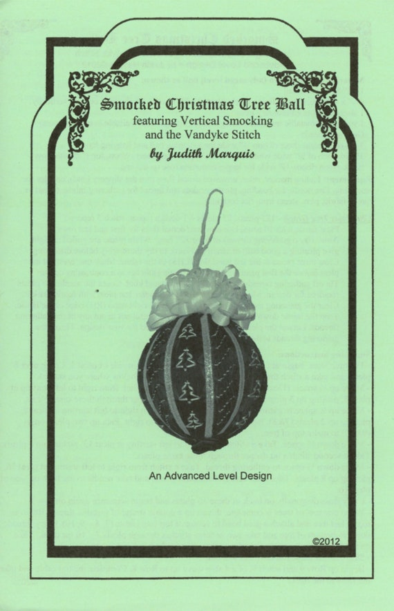 Smocked Christmas Ornament / Instructions To Smock Christmas Ball / Christmas Ornament / Advanced Smocking Plate / Pattern / Vintage Smocked