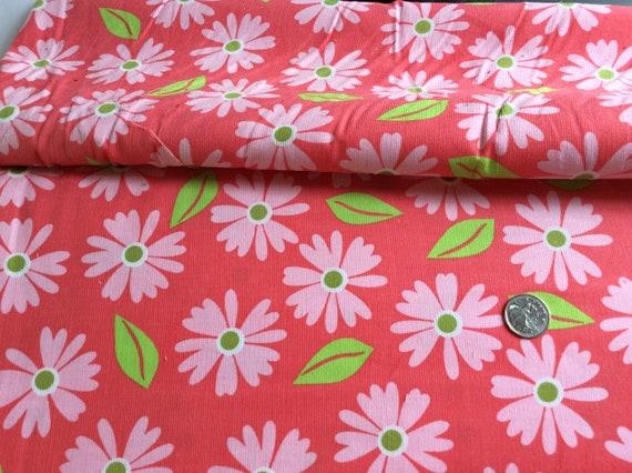 "Corduroy / Print Corduroy / White Flowers / Pink Background / Fine Wale Corduroy / 21 Wale Corduroy / by Robert Kaufman 54"" wide"