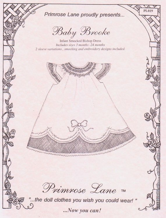Heirloom Dress Pattern / Smocked Bishop / Madeira Hem / Lace Insertion / Puffed and Angel Sleeve / Embroidery / Primrose Lane / Baby Brook