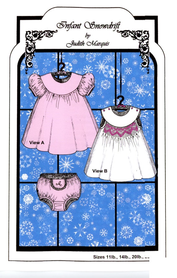 Smocked Dress Pattern / Baby Dress / Smocked / Infant Snowdrift / Smocking / Round Yoke / Smocking Plates Included / Judith Marquis /