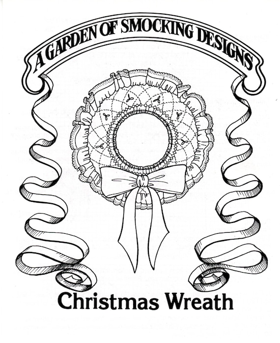 Smocked Christmas Wreath / Instructions To Smock a Christmas Wreath / Smocking Plate / Pattern / Vintage Smocked