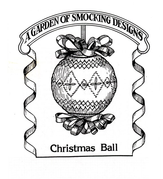 Smocked Christmas Ornament / Instructions To Smock Christmas Ball / Christmas Ornament / Smocking Plate / Pattern / Vintage Smocked