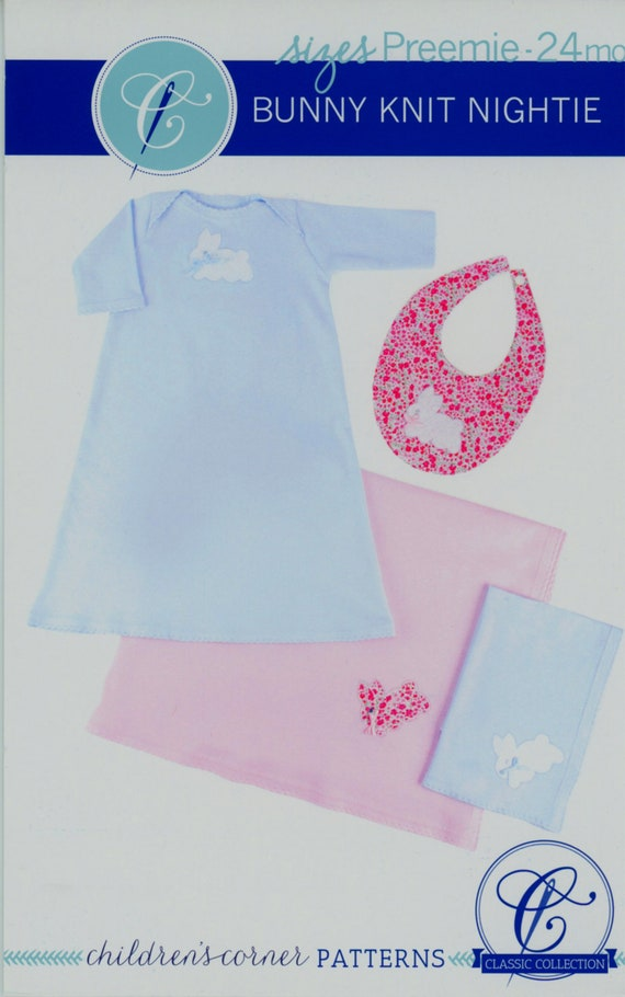 Childrens Corner / Bunny Knit Nightie / Baby Layette / Nightgown With a Shell Edge, Bib, Blanket, And Burp Cloth / Knit / 237