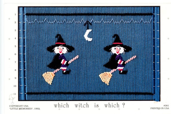 Halloween Smocking Plates /Smocking / Smocked Dress / Vintage Smocking Design / Halloween Dress / Smocked Romper / Which Witch