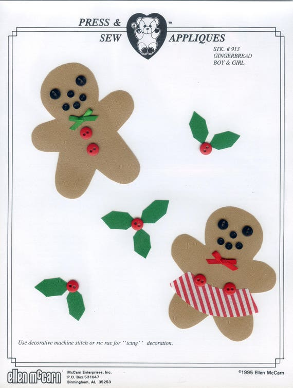 Iron on Appliqué / Press & Sew Appliqué / Christmas Appliqué / Easy Christmas Outfit / Gingerbread Boy and Girl by Ellen McCarn