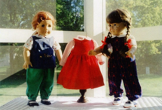 "Doll Pattern's / 18"" Doll / Jumper / Jumpsuit / Blouses / Paint Smock / Back to School Patterns / by Carol Clements"