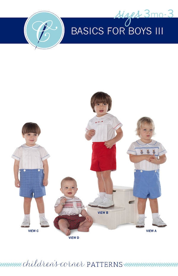 Smocked Boys Button-on  / Contains the Original David, John, Michael and Wright Patterns / 4 Shirts / Button on Shorts or Elastic Waist