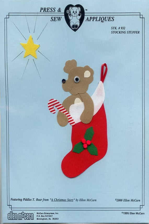 Iron on Appliqué / Press & Sew Appliqué / Christmas Appliqué  / Stocking With Bear / Christmas Outfit /  Stocking Stuffer by Ellen McCarn