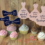 Bridal Party Dresses and Bowties 2-sided Cupcake Toppers - You choose colors