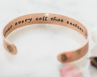 Answer every call that excites your spirit, rumi, lotus hamsa hand copper cuff, customizable, inspirational quote, yoga gift, RTS CC001
