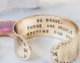 Be brave bracelet. Inspirational bracelet. Inspirational quote. Inspirational gift. Secret message gold quote cuff, arrow cuff, RTS CB013
