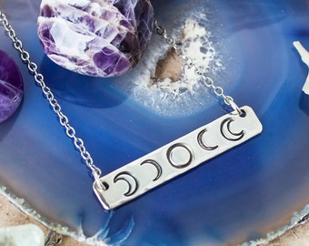 Moon phase necklace. Celestial bar necklace. Celestial. Gift for her. Inspirational gift. Silver moon phase necklace.Phases of the moon gift