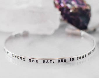 Your heart knows the way. Graduation gift. Inspirational quote bracelet. Quote cuff. Heart bracelet. Silver quote bracelet. CS024