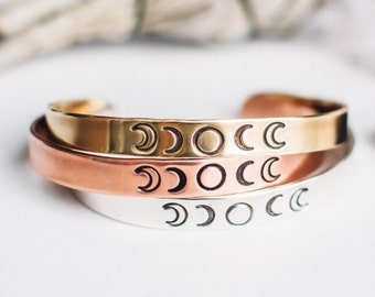 Moon phase bracelet. Inspirational. Phases of the moon cuff. Inspirational bracelet.Hand stamped bracelet.Gift for her.Moon jewelry.RTS
