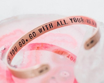 Wherever you go, go with all your heart arrows secret message hand stamped cuff bracelet, graduation gift, inspirational quote RTS CC007