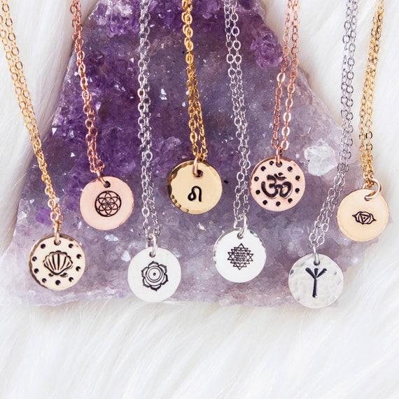 Custom Charm Necklace  Personalized symbol necklace  Inspirational  necklace Yoga, sacred geometry, om, Runes, zodiac, chakra symbol necklace