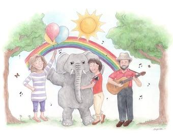 Sharon, Lois & Bram - The Elephant Show - Skinnamarink children's illustration art print