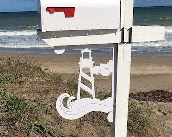 Mailbox Bracket - Lighthouse Large 16x21 inch, Custom Mailbox, Coastal, Tropical, Bracket, Outdoor Decor, Mailbox & Post Not Included