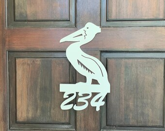 House Number Sign, Pelican, Address Plaque, Address Sign, Custom, Personalized Sign, Housewarming Gift, Coastal, Tropical, Outdoor Decor
