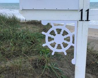 Mailbox Bracket - Ship's Wheel Medium 12x16 inch, Custom Mailbox, Coastal, Tropical, Bracket, Outdoor Decor, Mailbox & Post Not Included