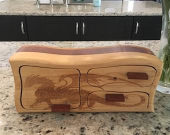 Solid Wood Box w/Drawers, Dragon Walking, Jewelry Box, Handcrafted, Custom Box, Personalized Box, Handmade, Home Decor, Engraved, Stash Box