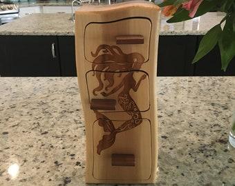 Solid Wood Box w/ Drawers - Mermaid, Jewelry Box, Handcrafted, Custom Box, Personalized Box, Handmade, Engraved, Stash Box